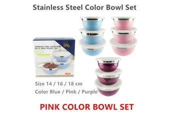 3pcs Pink Stainless Steel Kitchen Mixing Bowl Set Polished Round Container With Lids