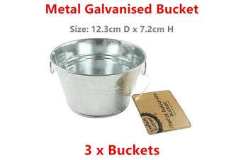 3 x Galvanised Metal Bucket w Handle Silver Pail Tin Pot Wedding Party Water