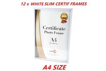 12 x A4 White Slim Document Frames Certificate Photo Award Business Registration
