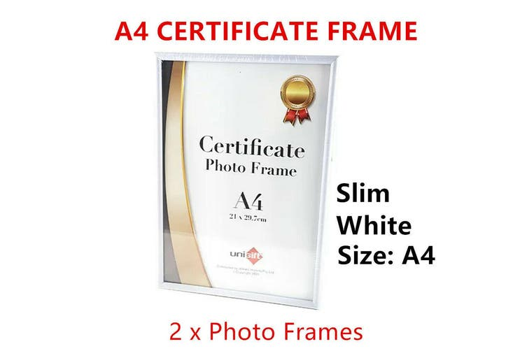 2 x A4 Slim Photo Frame Certificate Picture Poster Family Wall Display Holder