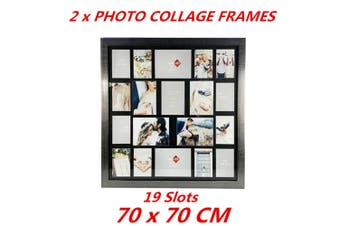 2 x 19-in-1 Collage Photo Frame Silver Picture Frame Home Decor Gift 70x70cm
