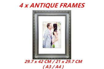4 x A3/A4 Picture Frame Antique Look Wall Hanging Photo Frames Home Decor Gift