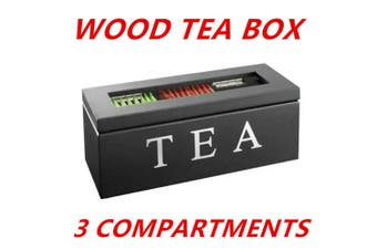 Black 3 Compartments Wooden Tea Coffee Bag Storage Box Glass Top Container Chest Tin