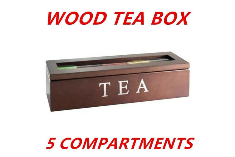 Brown 5 Compartments Wooden Tea Coffee Bag Storage Box Glass Top Container Chest Tin