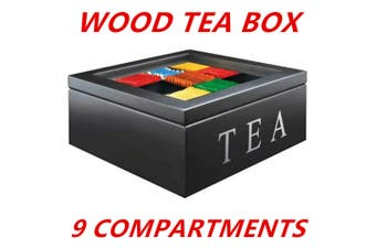 Black 9 Divisions Wooden Tea Box Storage Container Glass Top Lid Holds 90 Bags Case