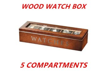 5-Brown Grids Slots Wooden Watch Display Box Storage Case Gift Jewellery Organizer