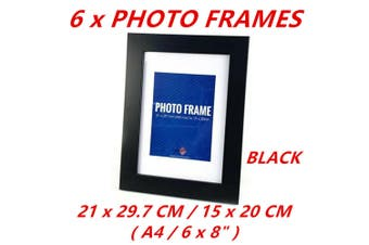 6x Black A4 Picture Photo Frame Black White Home Decor Art Table Wall Photographs Gift
