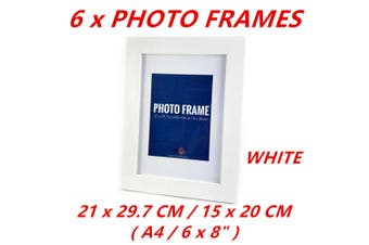 6x White A4 Picture Photo Frame Black White Home Decor Art Table Wall Photographs Gift