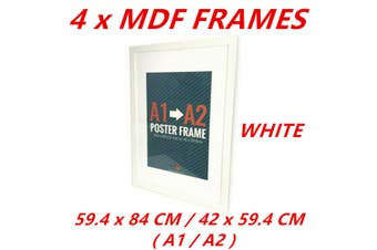 4 x White A1/A2 Poster Frame Photo Picture MDF Home Decor Art Pop Culture Gift Award