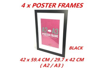 4 x Black A2/A3 Poster Frame Photo Picture MDF Frame Home Decor Art Pop Culture Gift
