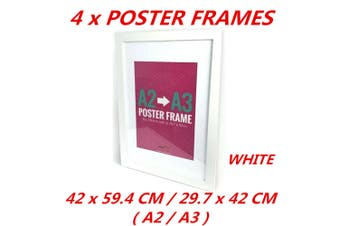 4 x White A2/A3 Poster Frame Photo Picture MDF Frame Home Decor Art Pop Culture Gift