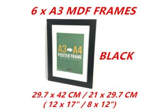 6 x Black A3/A4 Poster Frame Photo Picture MDF Home Decor Art Pop Culture Gift Award