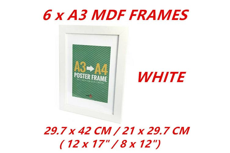 6 x White A3/A4 Poster Frame Photo Picture MDF Home Decor Art Pop Culture Gift Award