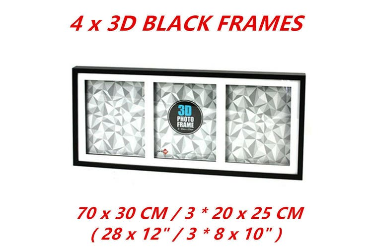 4 x Black 3D Box Picture Frame Shadow Wall Hanging Collage Photo Frame 70x30cm