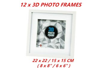 12 x Picture Frame White 3D Box Wall Hanging Shadow Box Photo Frames Gift 22x22