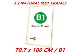 3 x B1 MDF Poster Frame Natural Color Home Decor Artwork Prints Sign Gift Ware