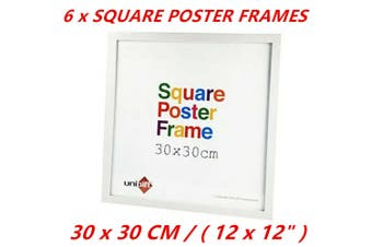 6 x White Square Poster Frame Home Decor Artwork Prints Picture Photo Gifts 30x30cm