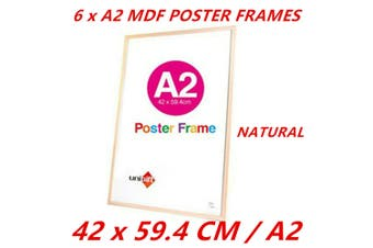 6 x Natural A2 MDF Poster Frame Various Colors Home Decor Artwork Prints Sign Gift Ware