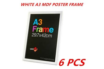 6 x White A3 MDF Poster Frame Various Colors Home Decor Artwork Prints Sign Gift Ware