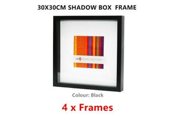 4 x Black Square Shadow Box Photo Frame 30x30CM Picture Art Drawings Holder Home Decor