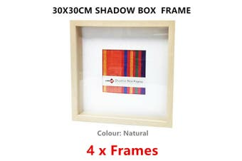 4 x Natural Square Shadow Box Photo Frame 30x30CM Picture Art Drawings Holder Home Decor