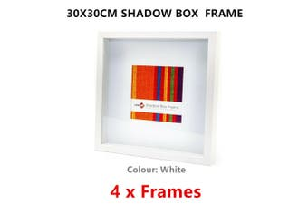 4 x White Square Shadow Box Photo Frame 30x30CM Picture Art Drawings Holder Home Decor