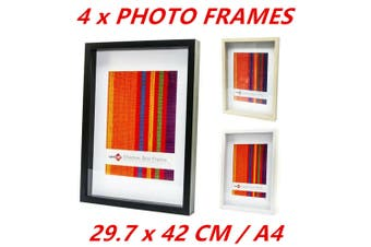 4 x White A4 Photo Picture Shadow Box Frames Home Decor Art Photographs Gift Ware