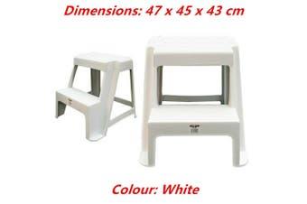 White Large Double Step Stool White Black 2-step Plastic Portable Ladder 47x45x43cm