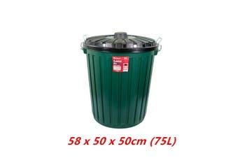 75L Green Large Rubbish Bin Storage Container Kitchen Trash Waste Garbage Dustbin lid