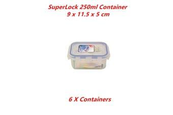 6 x 250ml Transparent Food Storage Container BPA FREE Plastic Box Tub Tupperware