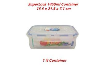 1 x 1450ml Transparent Food Storage Container BPA FREE Plastic Box Tub Tupperware