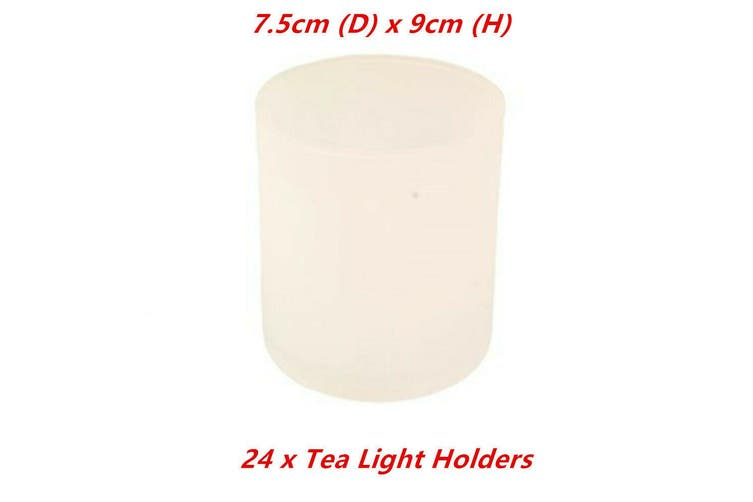 24 x Frosted Tea Light Holder Table Candle Cup Tealight Wedding Glass Party