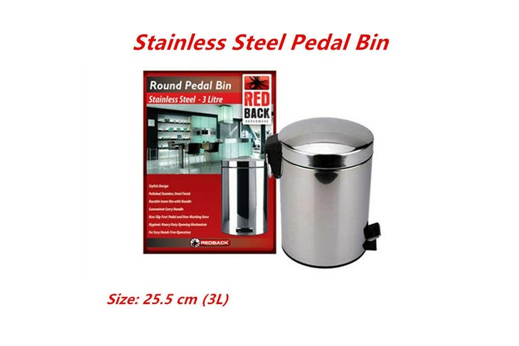 3L 25.5cm Stainless Steel Pedal Rubbish Bin w Handle Trash Waste Garbage Can Metal Stylish