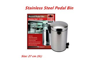 5L 27cm Stainless Steel Pedal Rubbish Bin w Handle Trash Waste Garbage Can Metal Stylish