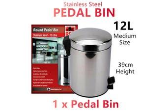 12L Stainless Steel Pedal Rubbish Bin Trash Waste Garbage Can Metal Kitchen M
