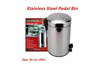 20L 44cm Stainless Steel Pedal Rubbish Bin w Handle Trash Waste Garbage Can Metal Stylish