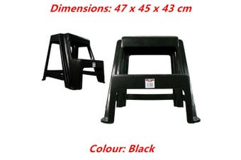 Black Large Double Step Stool White Black 2-step Plastic Portable Ladder 47x45x43cm