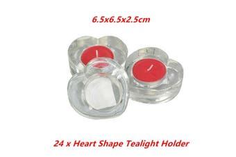 24 x Glass Heart Shape Tea Light Holder Candle Cup Wedding Party Tealight Decor