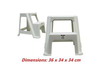 White Small Double Step Stool White Black 2-step Plastic Portable Ladder 36x34x34cm