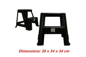 Black Small Double Step Stool White Black 2-step Plastic Portable Ladder 36x34x34cm