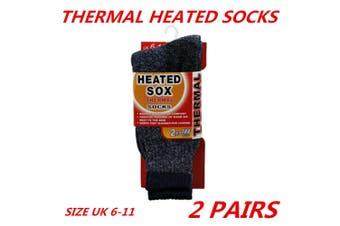 2 x Men Thick Winter Warm Thermal Heated Heat Boot Cushion Work Socks Black 6-11