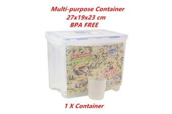 1 x Multi Purpose Food Rice Grain Bean Storage Box Bin Container BPA FREE w Wheels