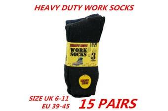 15 x Mens Work Socks Heavy Duty Thick Cotton Blend Black Cushion Boot Sox 6-11