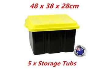 5 x Black Plastic Storage Tub 31L Yellow Lid 48x38x28cm Heavy Duty Container