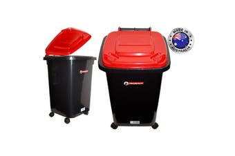 Red 60L Redback Heavy Duty Toy Plastic Storage Wheelie Trash Container Rubbish Bins