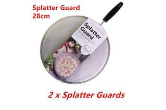 2 x Anti Splatter Guard 28cm Oil Net Splash Cover Pan Screen Kitchen Cooking Frying