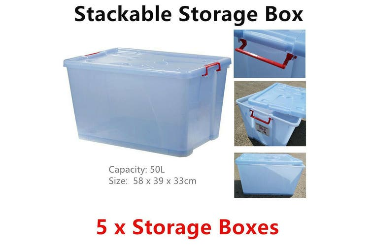 5x 50L Large Stackable Heavy Duty Plastic Storage Box w/ Wheel Container Tub Bin