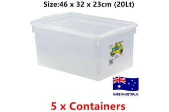 5 x 20L BPA Free Clear Plastic Container Storage Box Organiser Bin Basket AU