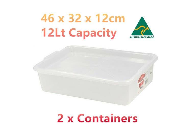 2 x 12L Under Bed Storage Container Plastic AU Shoe Toy Organiser Lid Box Holder