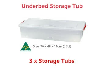 3 x Underbed Storage Containers Clear Plastic Tub 76x40x16cm 35L Shoes Organiser